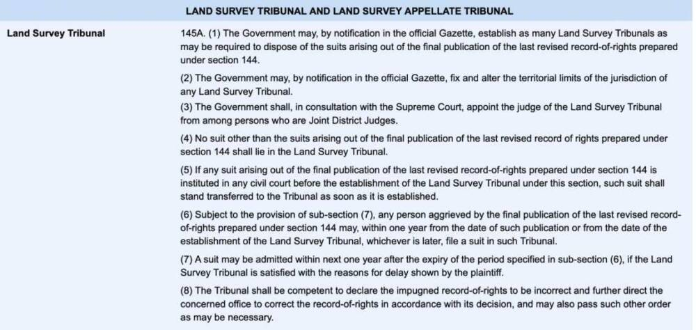 Section 145 Of Land Survey Tribunal In Bangladesh